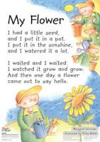 Poem with child watering flowers.